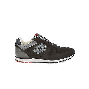 Lotto men's S0098OBLACKCEMENT grey / black leather of sneakers