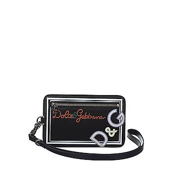 Dolce E Gabbana men's BP2314AN368HNI08 black leather clutch