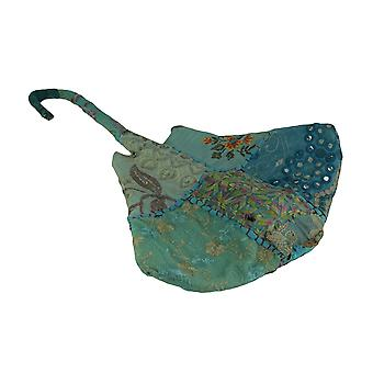 Recycled Indian Sari Fabric Covered Blue Stingray Tabletop Or Wall Statue