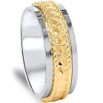 14K amarelo & branco do ouro dois tons trançado banda de casamento