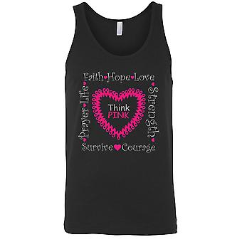 Men's Tank Top Breast Cancer Awareness Think Pink Hope Ribbon
