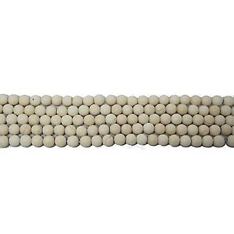 Nitką 85 + krem Riverstone 4mm gładkie matowe okrągły koraliki CB34010-1