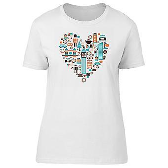 London City Heart Doodles Tee Women's -Image by Shutterstock