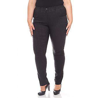 sheego ladies striped stretch pants plus size long size black