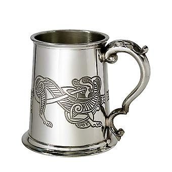 Celtic Lion Embossed Pewter Tankard - 1 pint
