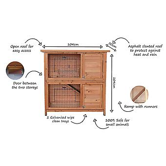 Charles Bentley Pets Wooden Two Storey Outdoor Rabbit Hutch Guinea Pig Run Bunny House With Ramp