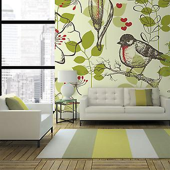 Wallpaper - Bird and lilies vintage pattern