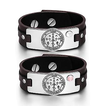 Archangel Uriel Sigil Love Couples White Pink Simulated Cats Eye Amulet Brown Leather Bracelets