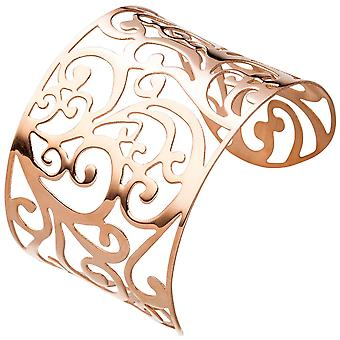 Cuff / open Bangle made of stainless steel rose gold color coated wide