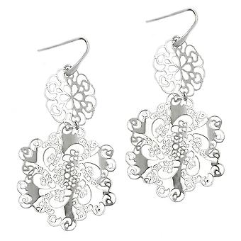 Filigree earrings ear hook shiny Silver earrings filigree 925 sterling silver