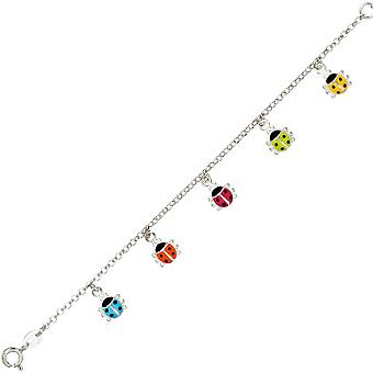 Children Bangle Bracelet colorful Ladybug charm 925 Silver 16 cm kids bracelet