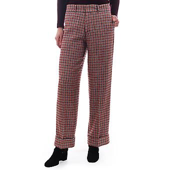 Maison Scotch Checked Wide Leg Pants With High Cuff