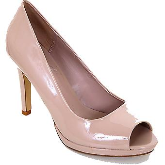 Ladies Peep Toe Nude Black Patent Women's Casual Smart Court Shoes Heels