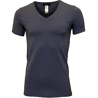 Hanro Cotton Superior V-Neck T-Shirt, Cliff Blue