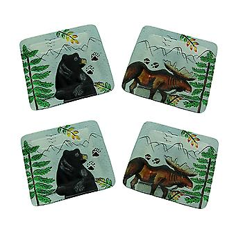 Set of 4 Lodge Black Bear and Moose Square Art Glass Salad Plates