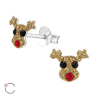 Deer - 925 Sterling Silver Crystal Ear Studs - W24710X
