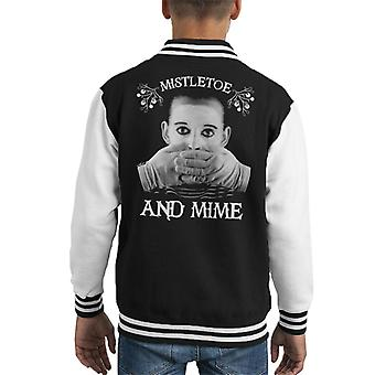 Christmas Mistletoe And Mime Knit Pattern Kid's Varsity Jacket