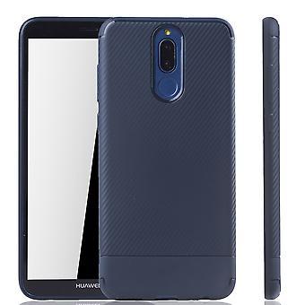 Huawei Mate 10 Lite Handyhülle Schutzcase Carbon Optik Bumper Blau
