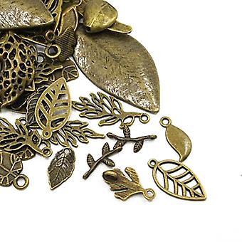 Packet 30 Grams Antique Bronze Tibetan 5-40mm Leaf Charm/Pendant Mix HA07485