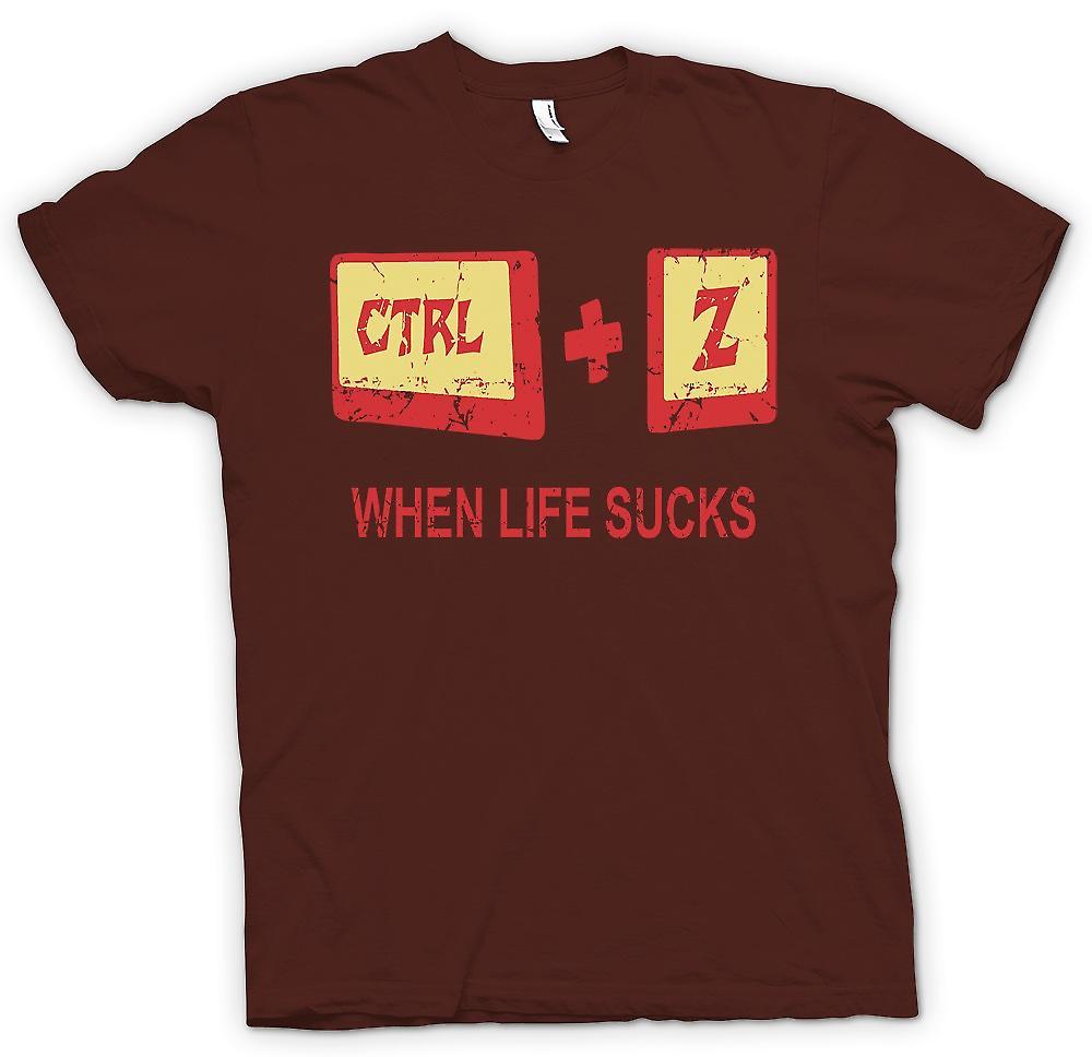 Mens T-shirt-wenn Leben - Ctrl - Z saugt