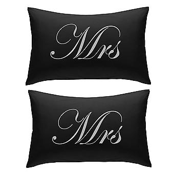 Black with Silver Mrs and Mrs Pillowcases