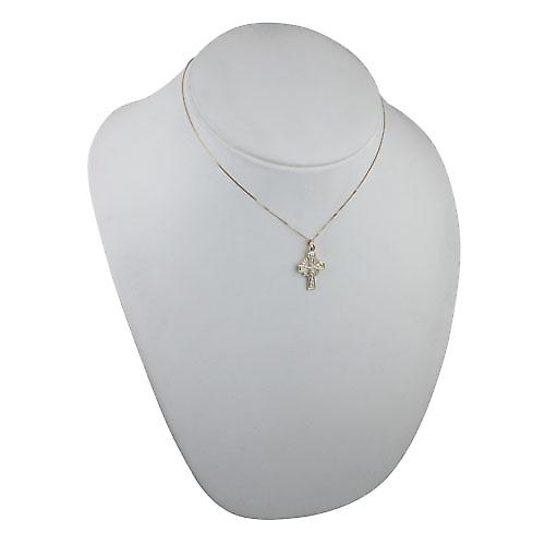 9ct Gold 22x16mm embossed Celtic pattern Cross with a curb Chain 16 inches Only Suitable for Children