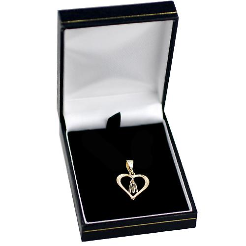 9ct Gold 18x18mm heart Pendant with a hanging Initial M