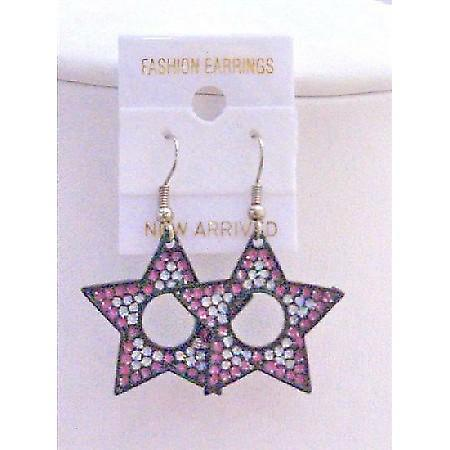 Colorful Star Earrings Pink White Amethyst Glitter Star Earrings