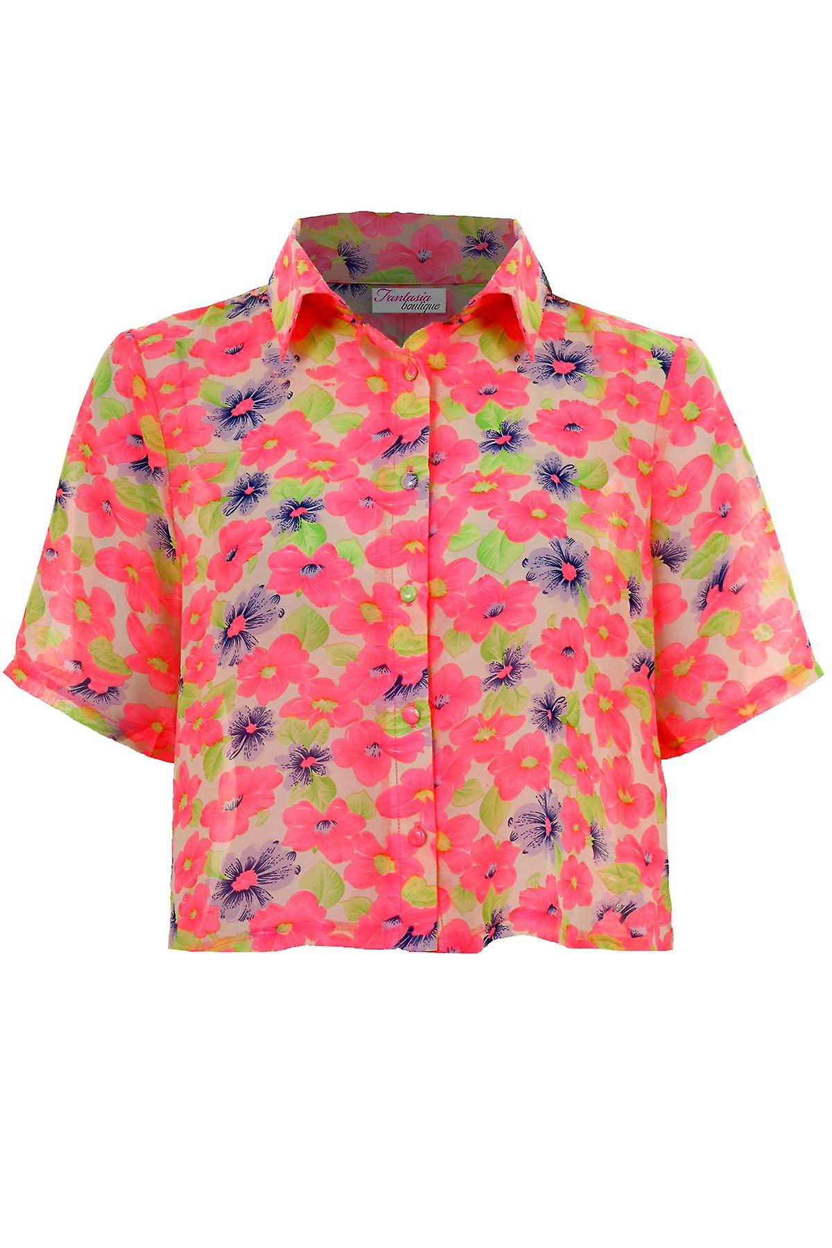 Ladies Short Sleeve Neon Floral Print Chiffon Women's Baggy Crop Blouse Top
