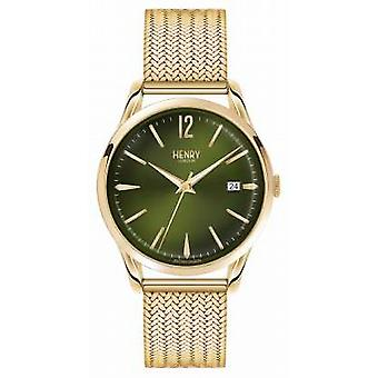 Henry London Chiswick Gold Plated Mesh Green Dial HL39-M-0102 Watch