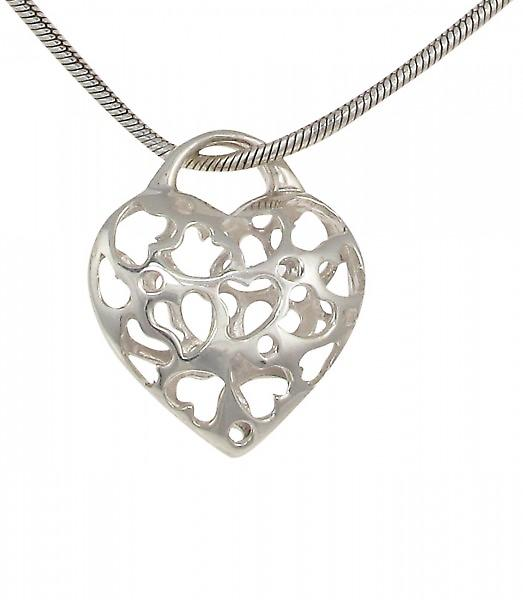 Cavendish French Sterling Silver Filigree Hearts in a Heart Pendant