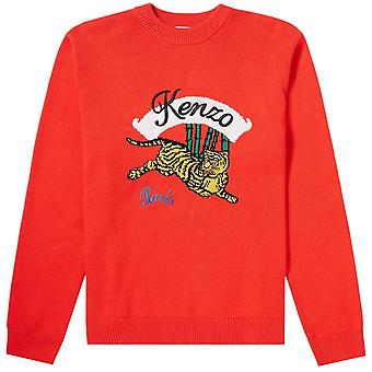 Kenzo Jumping Tiger Knitted Jumper Red