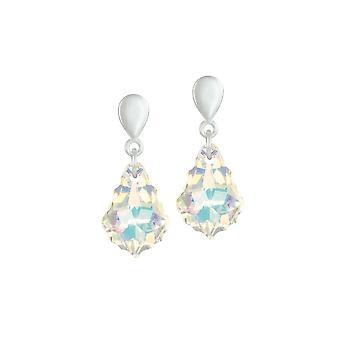 Eternal Collection Baroque Aurora Borealis Austrian Crystal Silver Tone Drop Pierced Earrings