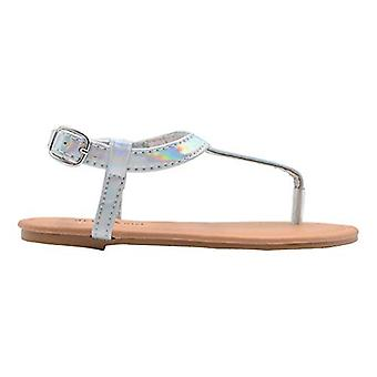 dELiAs Filles Fashion Sandals Little Kid Holographic Slingback T Strap Flats