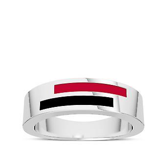 University Of Georgia - Asymmetric Enamel Ring In Red And Black