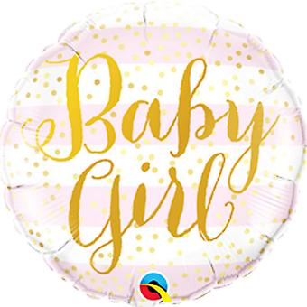 Qualatex 18 Inch Baby Girl Striped Round Foil Balloon