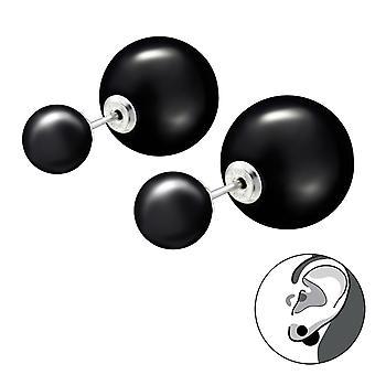 Double  Ball - 925 Sterling Silver Ear jackets & double earrings - W27769X