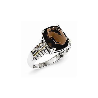 925 Sterling Silver Antique finish 14k Yellow Diamond Smokey Quartz Ring - Ring Size: 6 to 8