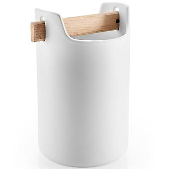 Eva Solo Toolbox hoch 20 cm Keramik weiß mit Eichenholz Griff