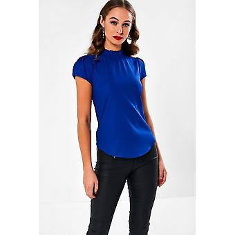 iClothing Monica Frill Neck Blouse In Blue-16