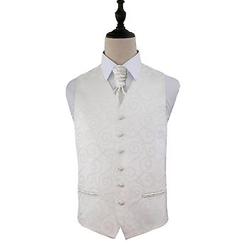 Scroll Ivory Wedding Waistcoat & Cravat Set