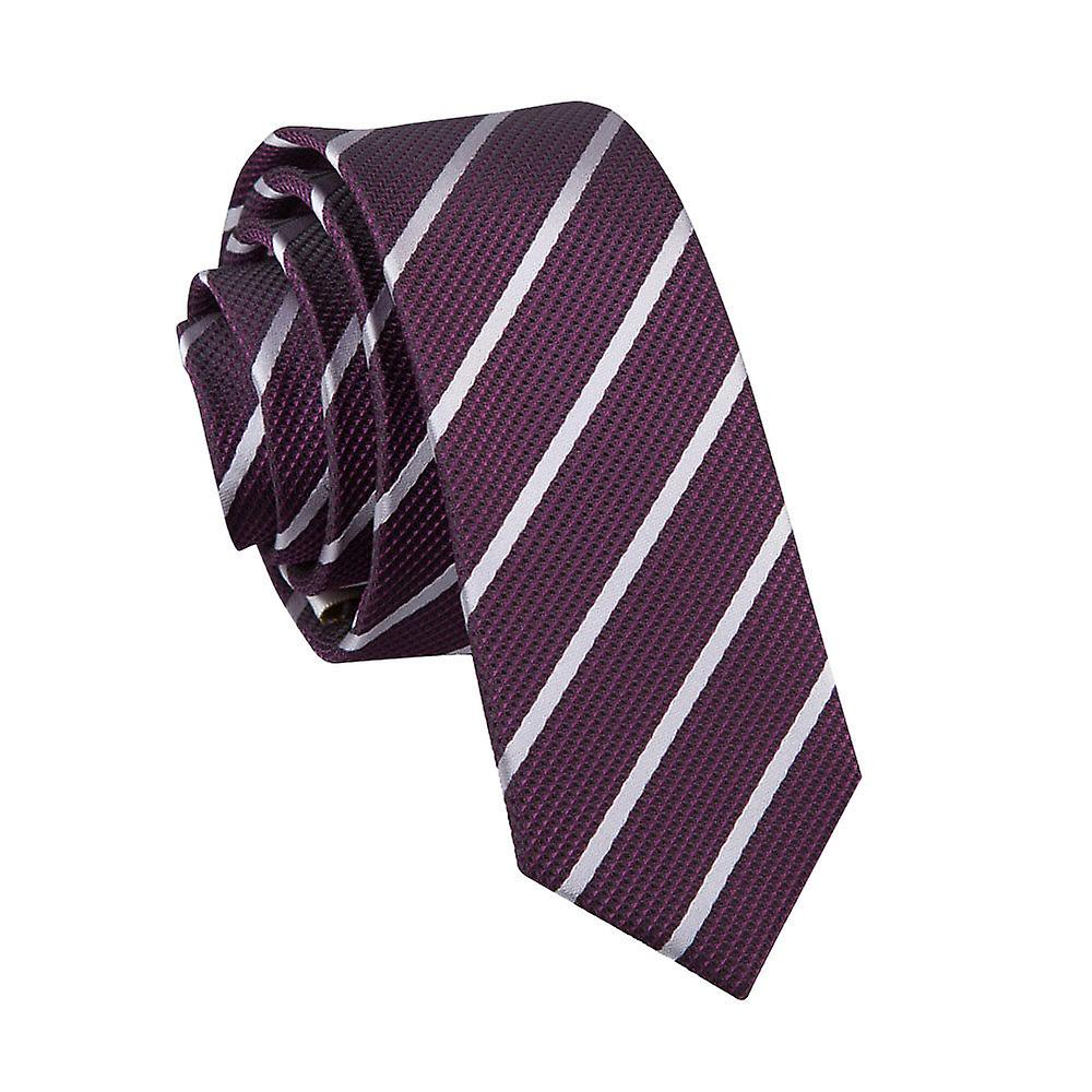Single Stripe Purple & Silver Skinny Tie