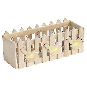 Wooden Picket Fence Yellow Spring Bird Triple Tealight Holder