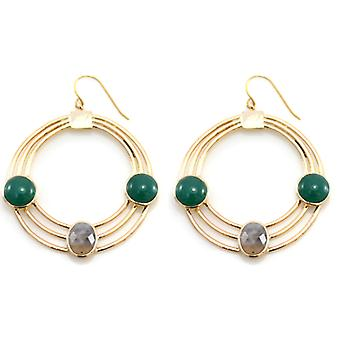 Lola Rose Boutique Collection Quincy Earrings in Montana Agate and Sea Green