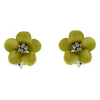 Clip en la presilla de flor Margarita Petite plata plateado mate amarilla pendientes tienda en oreja