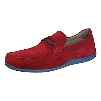 Geox Shoes U Xense Moc C Mens Suede Leather Moccasins - Red