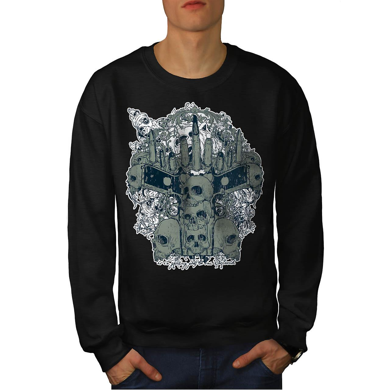 Gun Skull Death Gangster Men Black Sweatshirt | Wellcoda