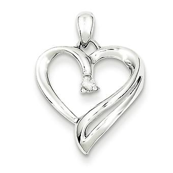 Ciondolo cuore in argento Sterling Diamond -.05 dwt
