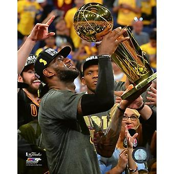 Lebron James with the NBA Championship Trophy Game 7 of the 2016 NBA Finals Sports Photo