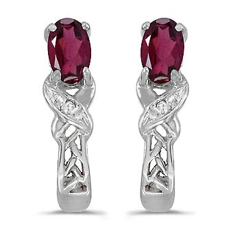 14k wit goud ovale Rhodolite granaat en Diamond Earrings